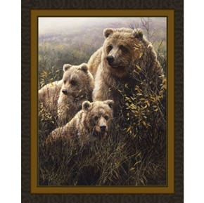 Denali Family Grizzly Bear John Seerey-Lester Digital Fabric Panel