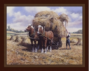 Making Hay Farming Horse Cart John Seerey-Lester Digital Fabric Panel