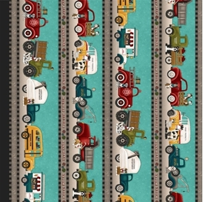 Papa's Old Truck Rows of Trucks Fire Dump Trash Tow Cotton Fabric