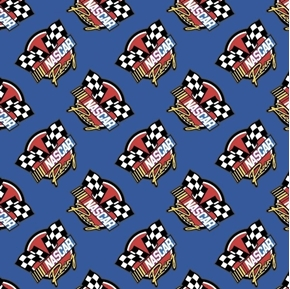 NASCAR Retro Racing Car Race Logo Blue Cotton Fabric