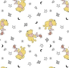 Disney Winnie the Pooh Nursery Pooh Piglet Stars White Cotton Fabric