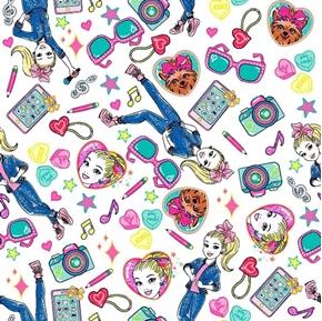 Jojo Tech Toss Phone Camera Music Nickelodeon TV White Cotton Fabric