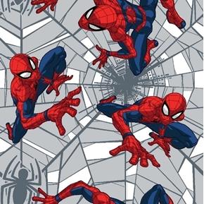 Marvel Spiderman Web Crawler Grey Web Superhero Cotton Fabric