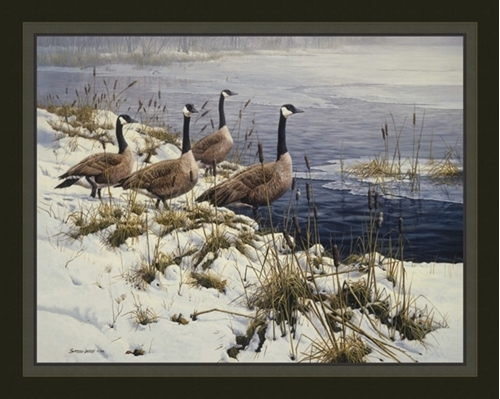 Among the Cattails Canadian Geese John Seerey-Lester Fabric Panel