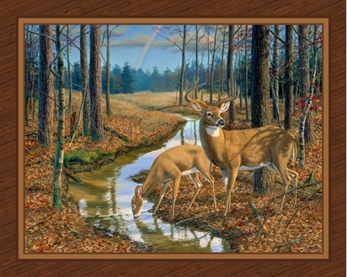 After the Rain Deer in the Woods Buck and Doe Digital Fabric Panel
