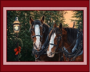 Merry and Bright Holiday Horse Horses Kim Penner Digital Fabric Panel