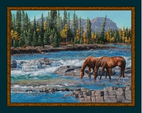 On The Rocks Horse Horses by the River Kim Penner Digital Fabric Panel