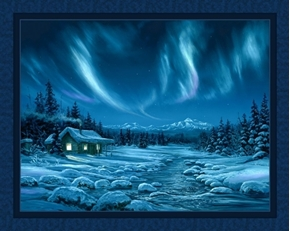 Night Lights Northern Lights Blue Cabin Shane Lamb Digital Fabric Panel