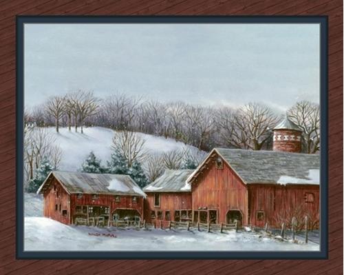 Minnesota Barn Old Red Barn Farm Wanda Mumm Digital Fabric Panel