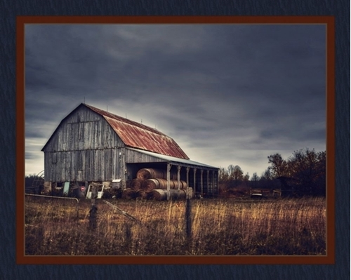 Dusk at the Farm Country Farming Hay Bales Barn Digital Fabric Panel