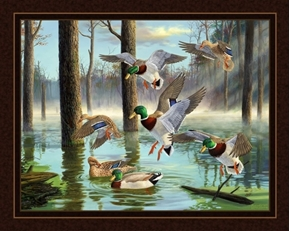 Download Mallard Ducks in Wooded Pond Digital Cotton Fabric Panel