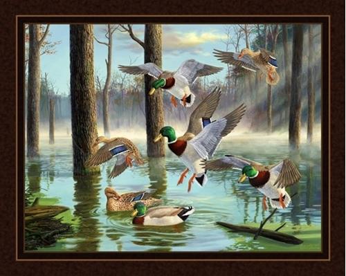 Download Mallard Ducks in Wooded Pond Digital Cotton Fabric Panel