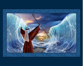 Moses Parts the Sea Religious Bible Story Digital Cotton Fabric Panel