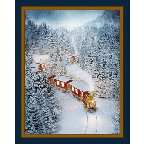 Christmas Train Decorated Holiday Locomotive Digital Fabric Panel