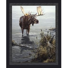 Silent Waters Wild Moose Lake John Seerey-Lester Digital Fabric Panel