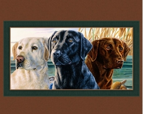 Lab Trio Labrador Retriever Dogs Hunting Dog Digital Fabric Panel