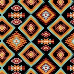 Southwest Corners Aztez Raindance Argyle Black Turquoise Cotton Fabric