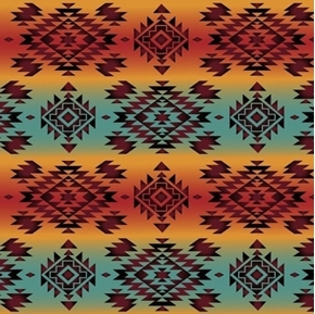 Southwest Corners Aztec Tribal Mystic Teal Coral Cotton Fabric