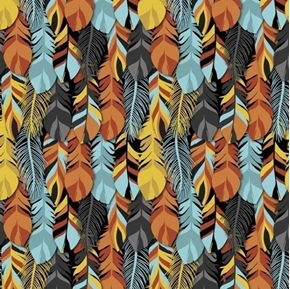 Southwest Corners Aztec Packed Feathers Gold Turquoise Cotton Fabric