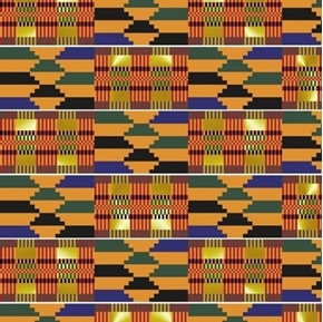 African Continent Akan Tapestry with Metallic Thread Cotton Fabric