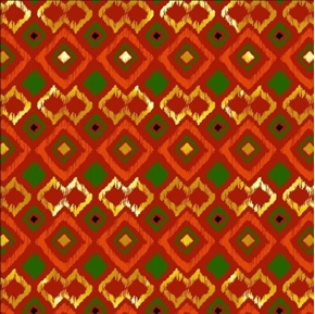 African Continent Origin Argyle Metallic Thread Orange Cotton Fabric