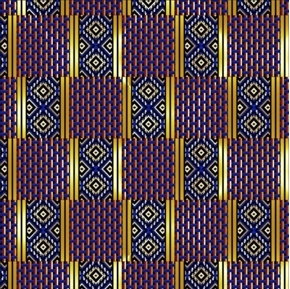 African Continent Kaftan Quilt Metallic Thread Blue Cotton Fabric