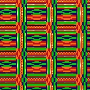 African Continent Kente Grid Orange Red Green Cotton Fabric