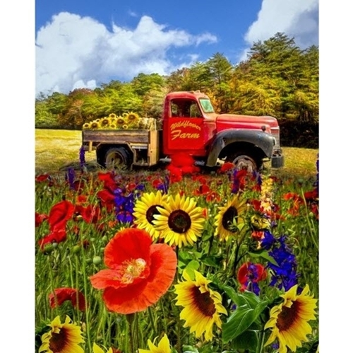 From The Field Red Truck Wildflower Farm Cotton Fabric Panel