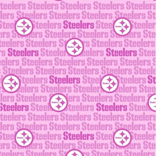 NFL Football Pittsburgh Steelers Pink Logos Names 2021 Cotton Fabric