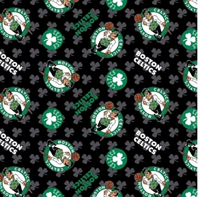 NBA Basketball Boston Celtics Shamrocks Leprechaun Black Cotton Fabric
