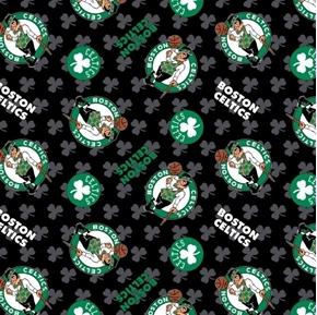 NBA Basketball Boston Celtics Shamrocks Leprechaun Black Cotton Fabric