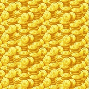 Pot of Gold Tossed Yellow Gold Coins Stacked Lucky Coin Cotton Fabric