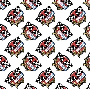 NASCAR Retro Racing Car Race Logo White Cotton Fabric