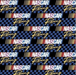 NASCAR Retro Racing Blue and Black Checkered Logo Cotton Fabric