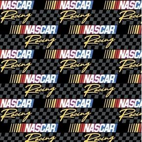 NASCAR Retro Racing Grey and Black Checkered Logo Cotton Fabric