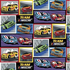 NASCAR Retro Racing Blocks Race Cars Team NASCAR Cotton Fabric