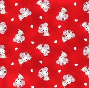 Big Hugs Nurse Mouse First Aid Mice Hearts Medical Red Cotton Fabric