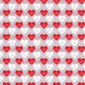 Big Hugs Heartbeat Red and White Hearts Medical Gray Cotton Fabric