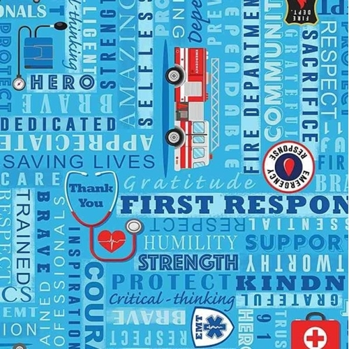 Thanks First Responders Brave EMT Firefighters Doctors Cotton Fabric