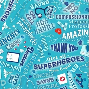 Thanks Medical Heroes Doctor Nurse Public Health Hero Cotton Fabric