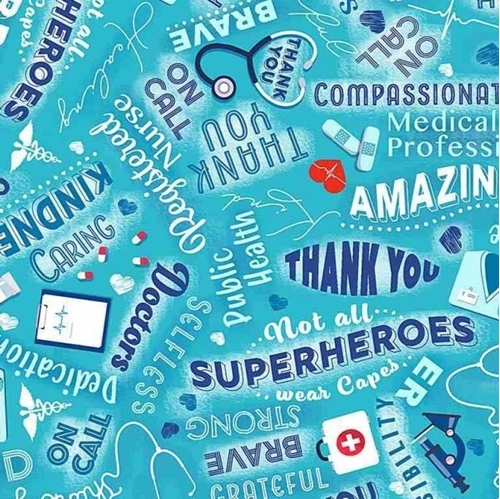 Thanks Medical Heroes Doctor Nurse Public Health Hero Cotton Fabric