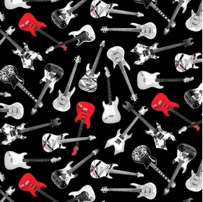 Tossed Guitars Gray and Red Guitar Toss Music Black Cotton Fabric