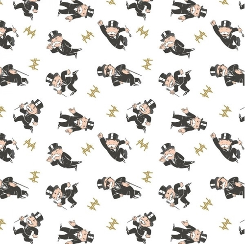 Monopoly Mr. Monopoly Toss Uncle Pennybags White Hasbro Cotton Fabric