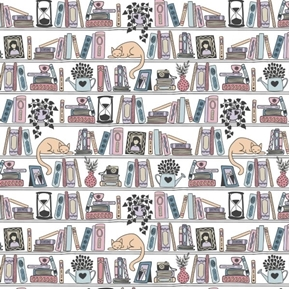Literary Bookshelves Books Plants and Cats Library Book Cotton Fabric