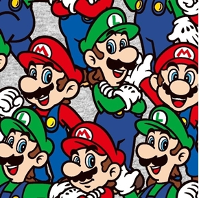 Nintendo Mario and Luigi Packed Video Game Characters Cotton Fabric