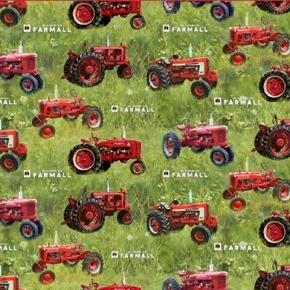 Farmall Farmhouse Sweet Farmhouse Tractors in Grass Cotton Fabric