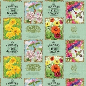 Old Farmers Almanac Gardening Calendar Flower Blocks Cotton Fabric