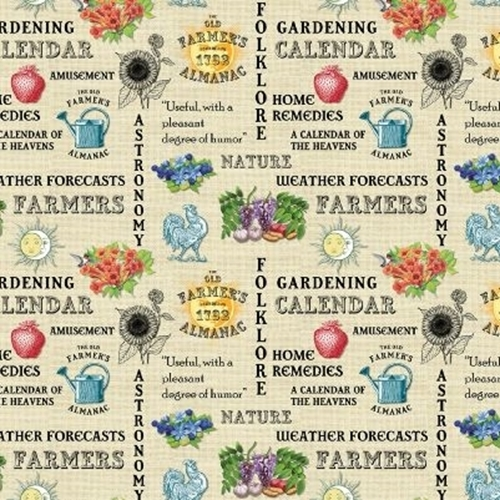 Old Farmers Almanac Gardening Folklore Astronomy Beige Cotton Fabric