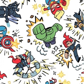 Marvel Avengers Marvel Kapow Animated Characters White Cotton Fabric
