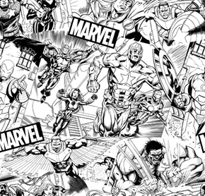 Marvel Avengers Sketch Black and White Comic Superhero Cotton Fabric